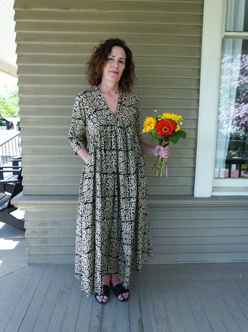 Damini Maxi Dress, Black Floral