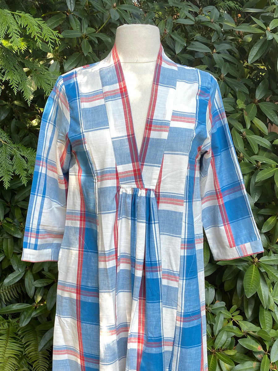 Pooja Dress, Blue Red Check
