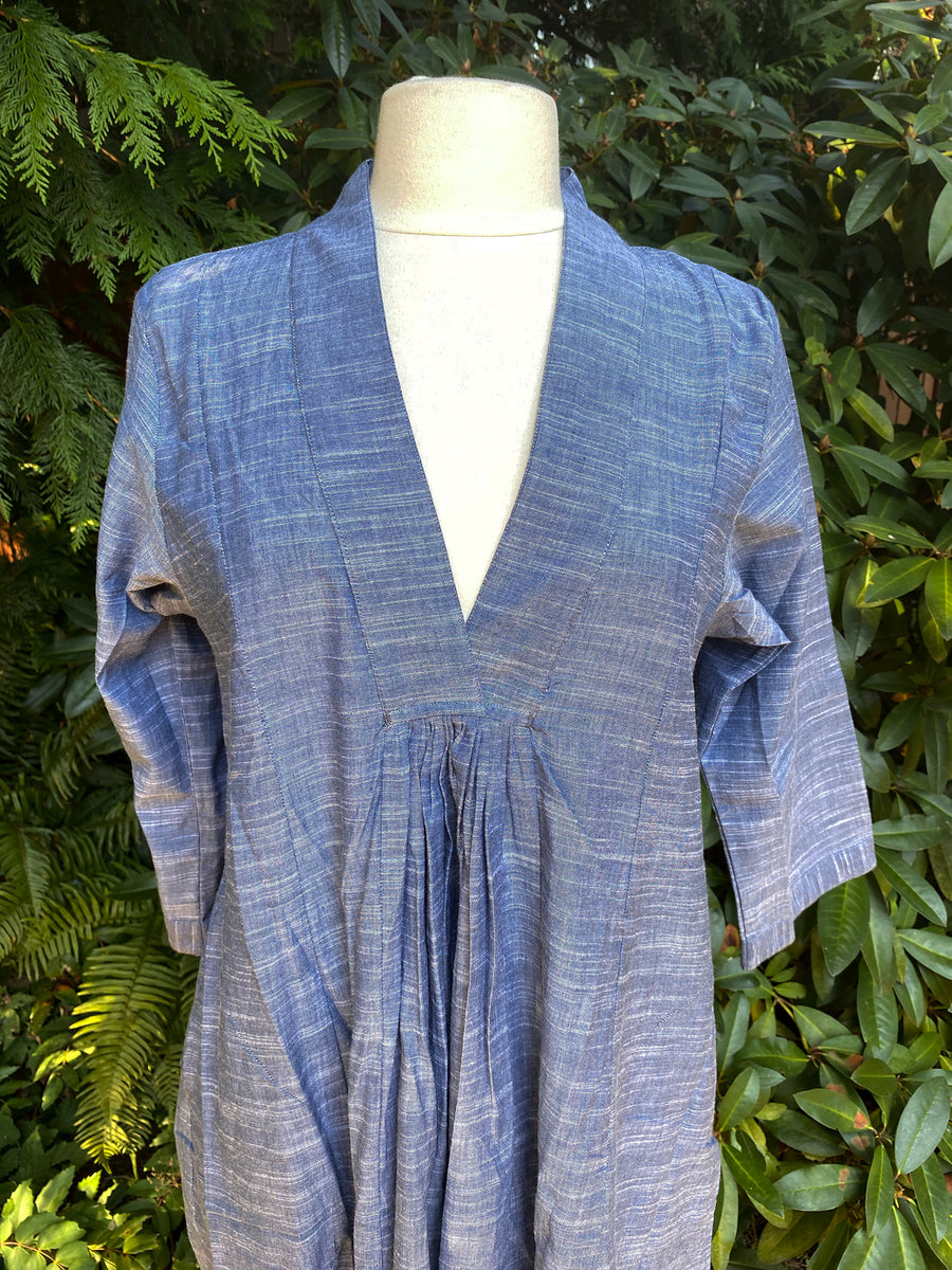 Pooja Dress, Khadi Blue