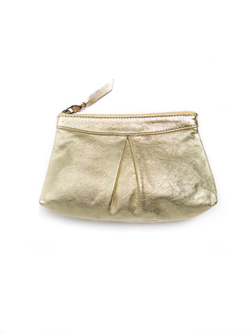 Metallic Pebble Leather Pouch, Gold