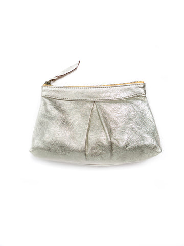 Metallic Pebble Leather Pouch, Silver