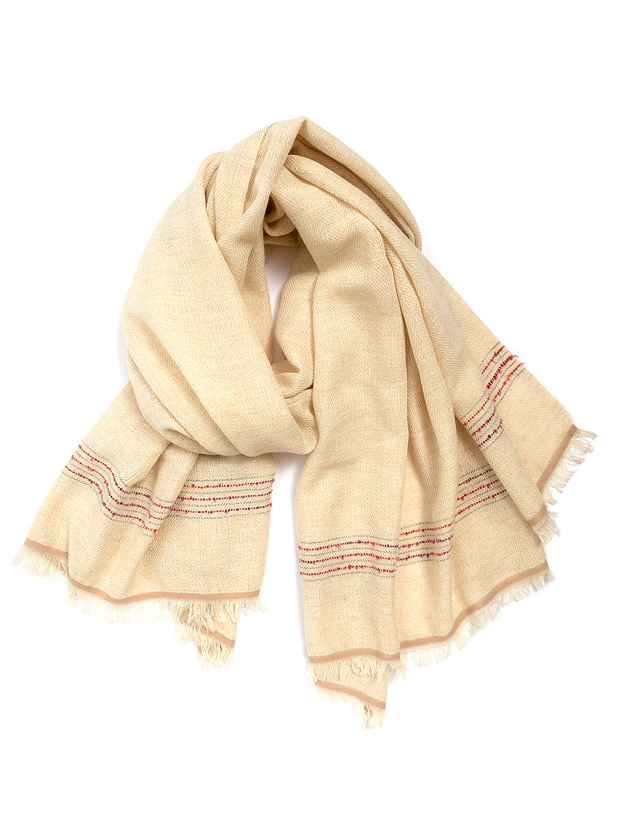 Wool Blanket Shawl, Cream