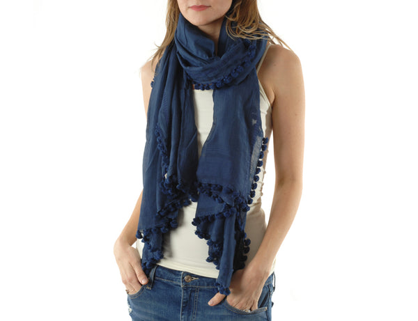 pom pom dupatta scarf shawl dark navy model
