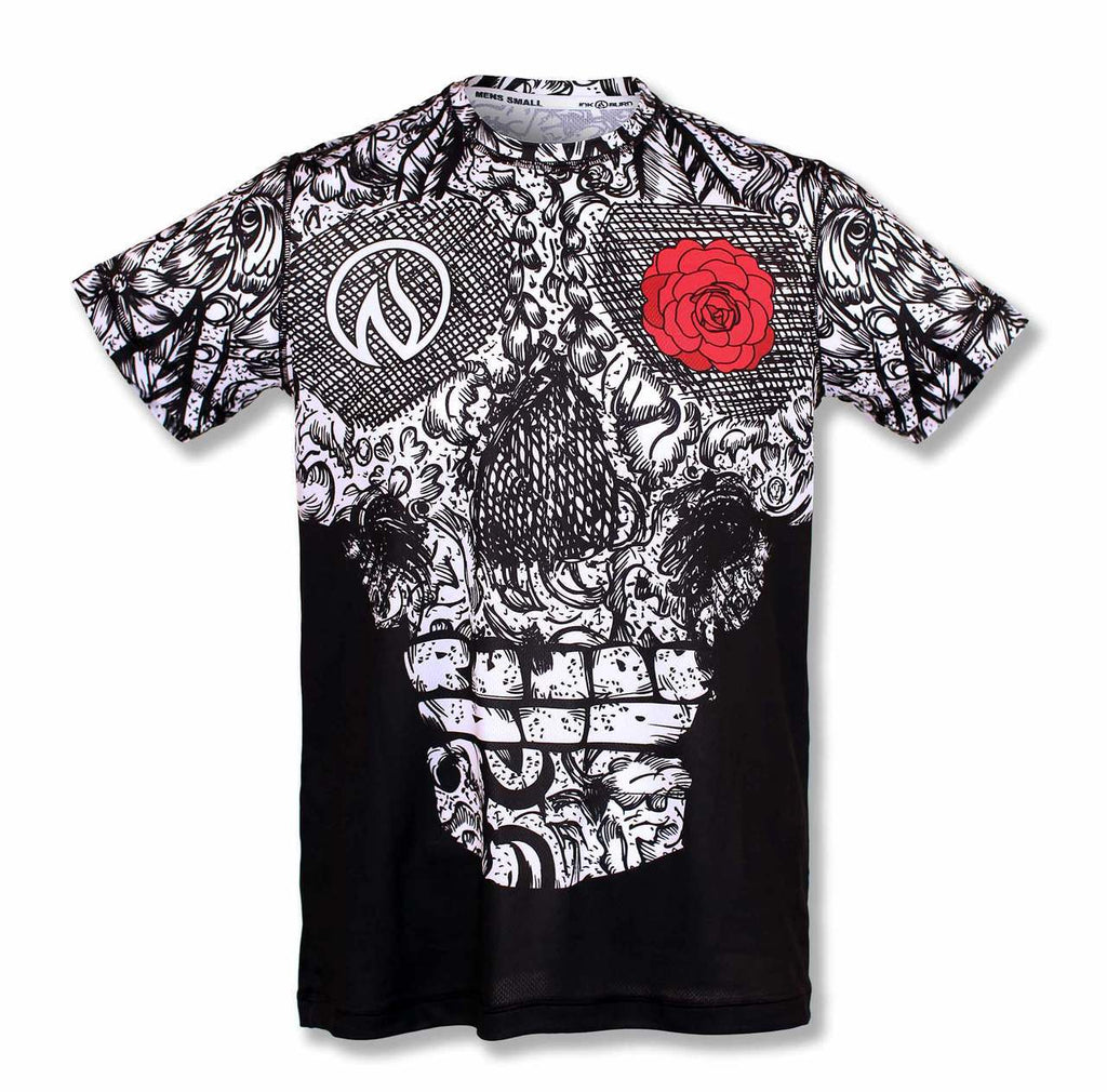 Mens Skull en Rose Techshirt