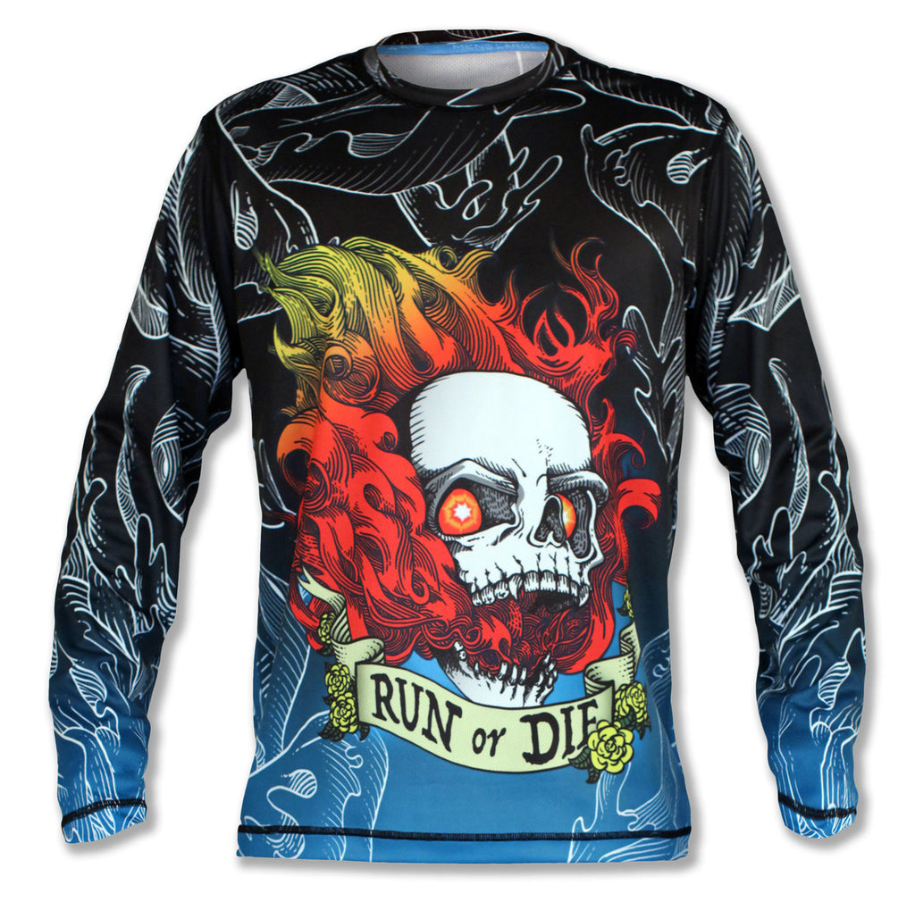 Mens Run or Die Fire Longsleeves