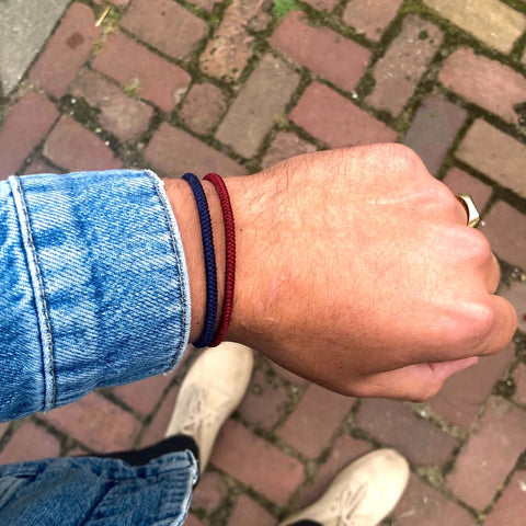 Tibetan double (bordeaux red/navy blue) - www.mundobracelets.com