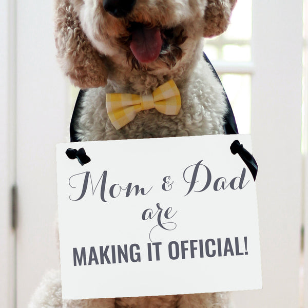Mom and dad are making it official wedding sign