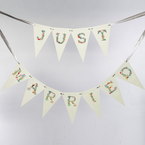 Just Married Floral Bunting