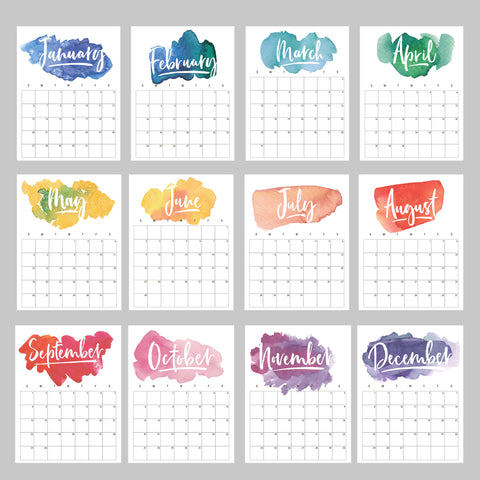 rainbow watercolor calendar