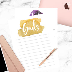 goals watercolor calendar
