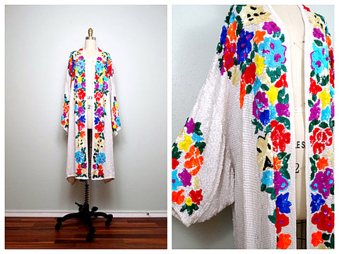 Bright Floral Sequin Robe by Braxae Vintage on Etsy