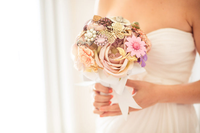 Pastel Brooch Bouquet Pink Roses