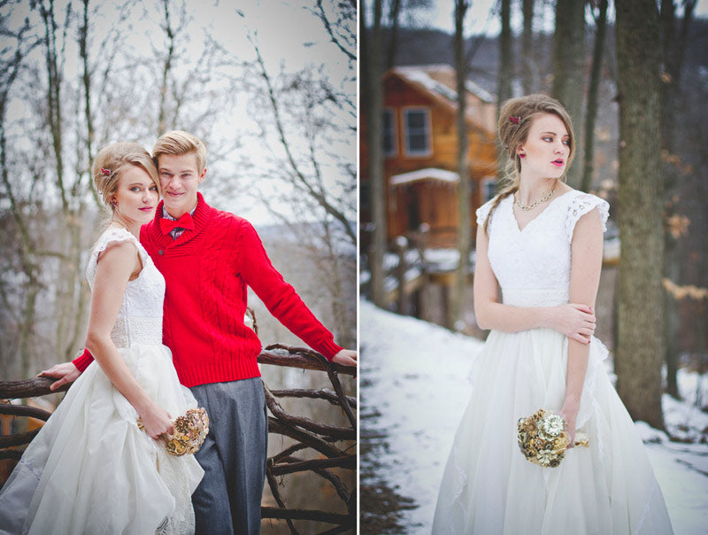 Gold Bouquet Winter Wedding