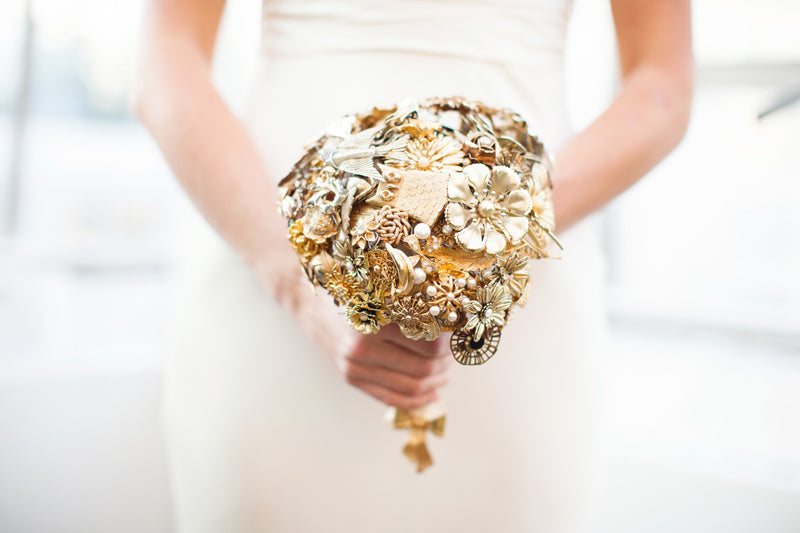 Gold Cascading Brooch Bouquet