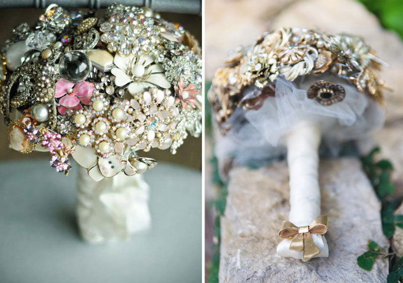 Pearl Crystal Brooch Bouquet Tulle