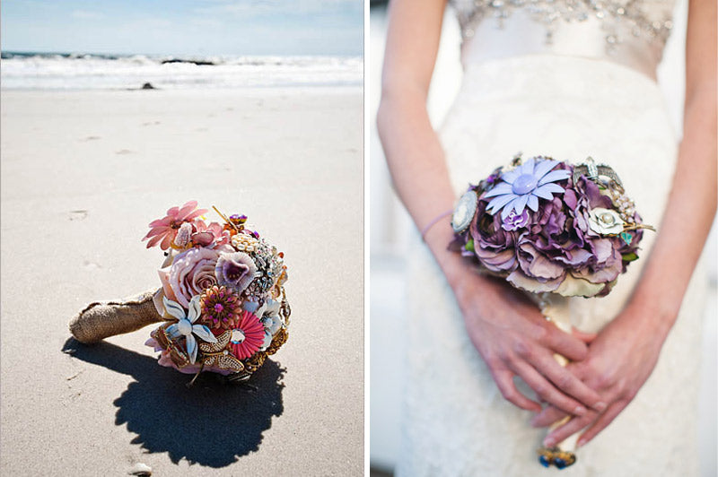 Pink Brooch Bouquet Burlap Stem