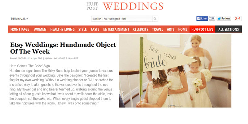 Huffington Post chose a few items from Etsy to feature and one was The Ritzy Rose's here comes the bride flag
