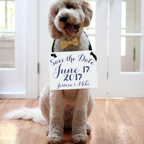 Dog save the date sign