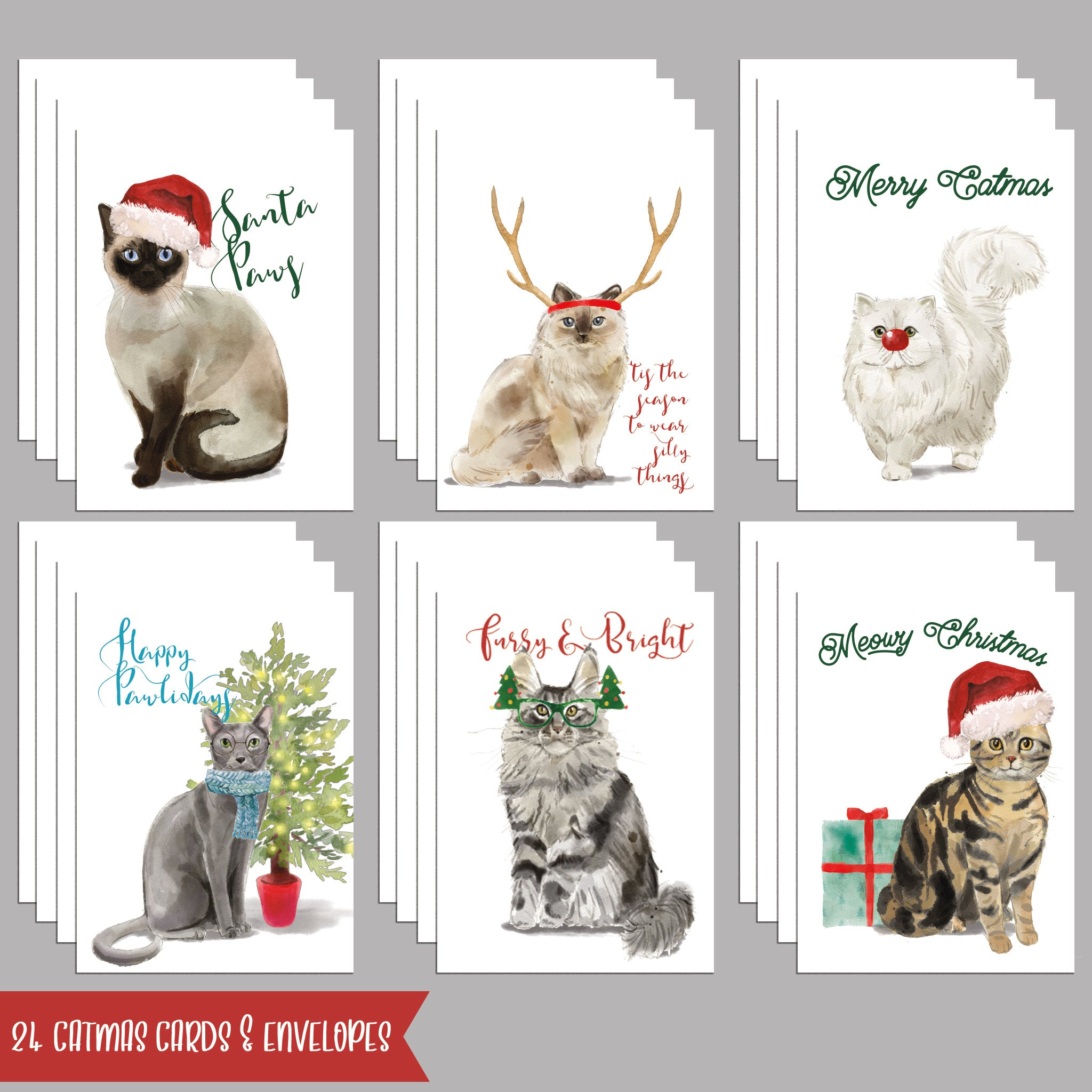 Cat Christmas Cards 2020 Meowy Christmas Cat Christmas Cards   24 Pack Funny Holiday