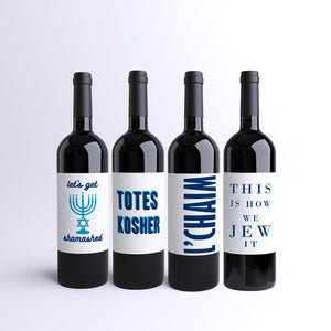 Funny Jewish Hanukkah Wine Labels - 4 Pack