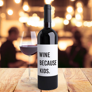 Funny Mom Life Wine Bottle Labels | Support Wildlife - 4 Pack