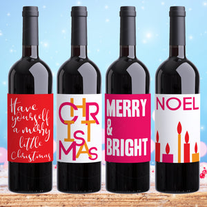Modern Christmas Wine Labels- 4 Pack