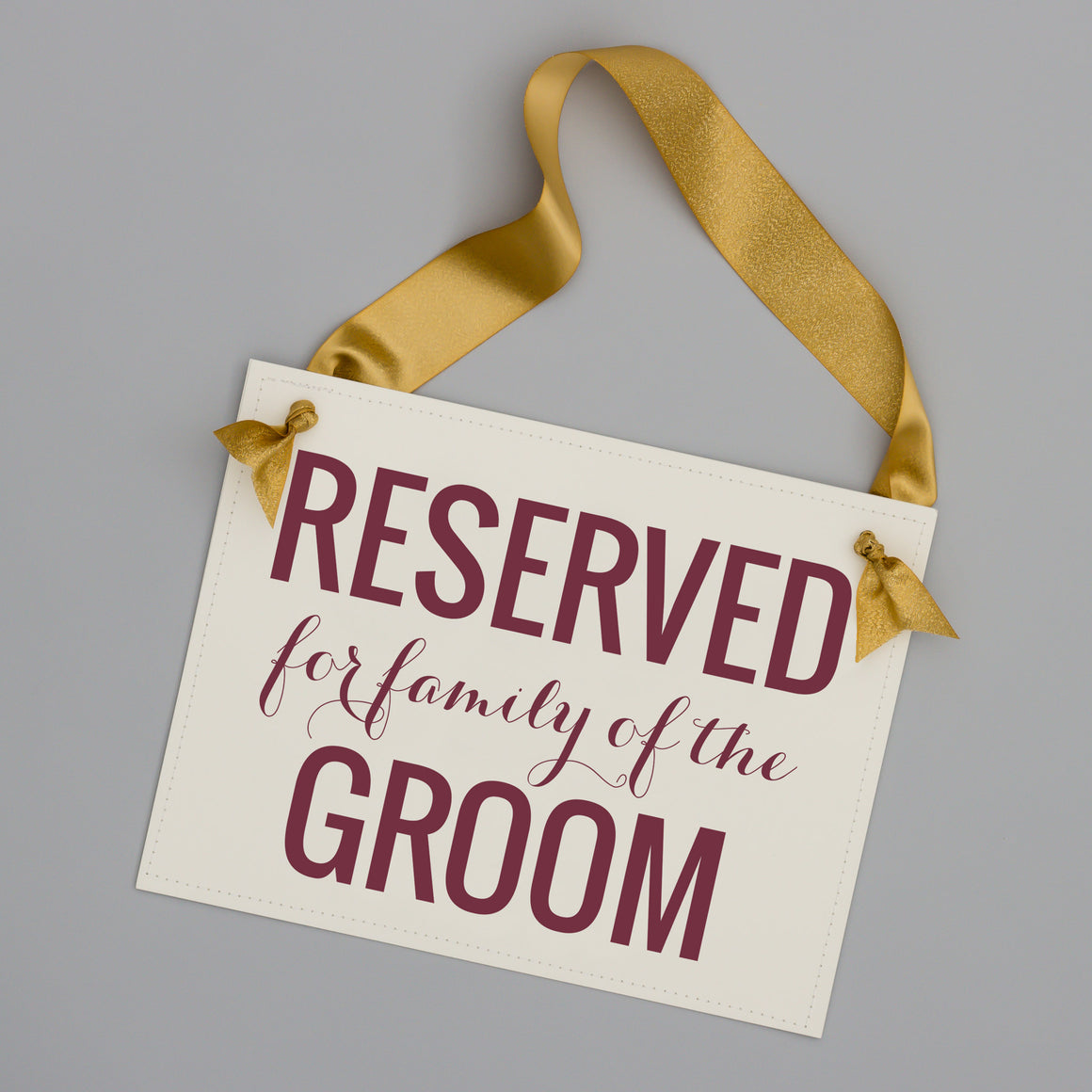 Reserved for family of the groom