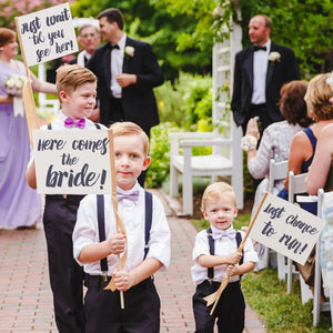 Set of 3 Ring Bearer Signs | Here Comes The Bride, Just Wait 'Til You See Her, Last Chance To Run