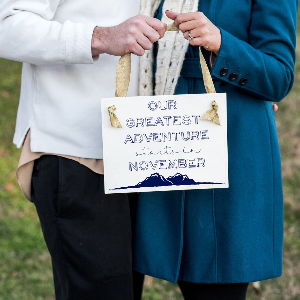Our Greatest Adventure Begins First Baby Announcement