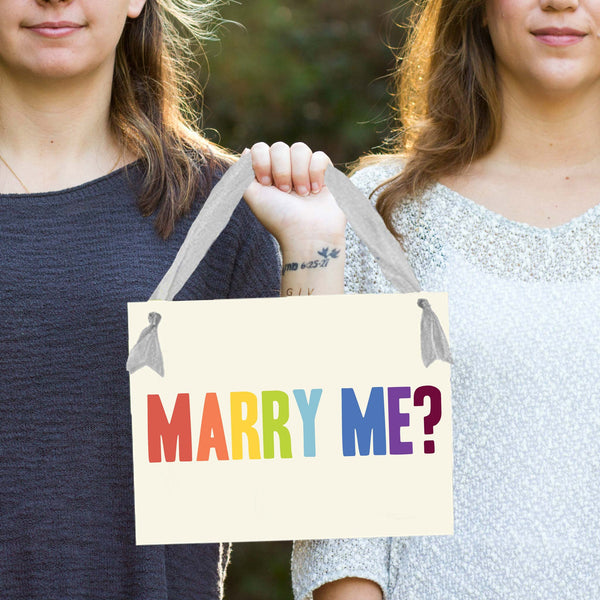 Marry Me? Rainbow Sign by Ritzy Rose Gay Wedding Ideas