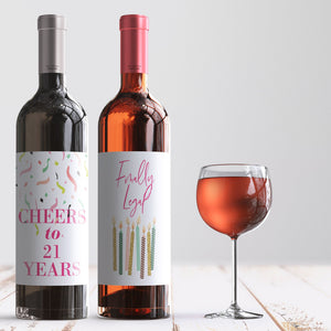 21st Birthday Party Wine Labels - 4 Pack