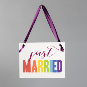 Rainbow Just Married Sign