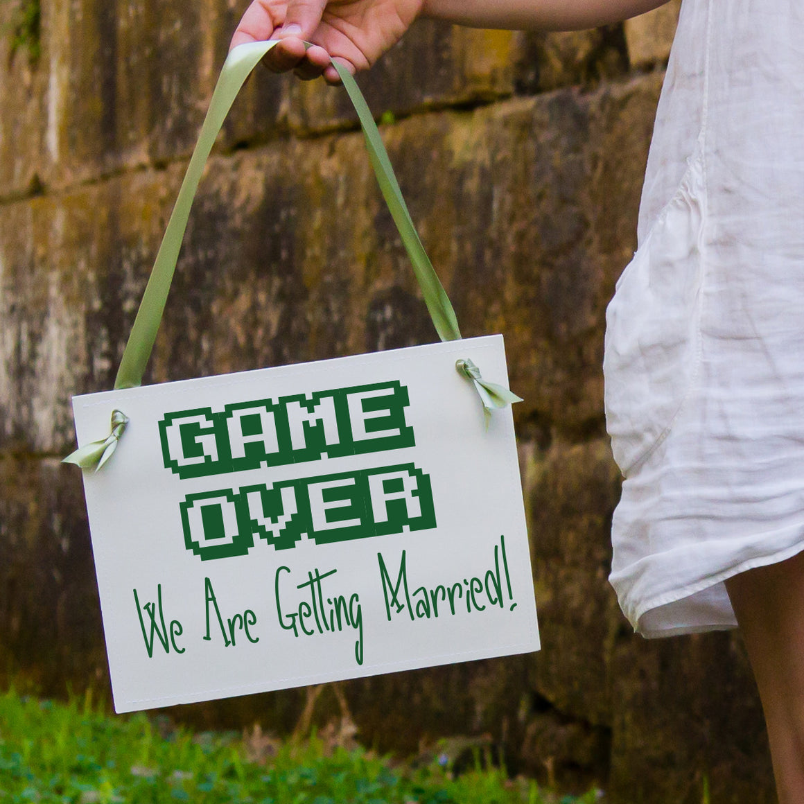 Game Over Sign Wedding Announcement