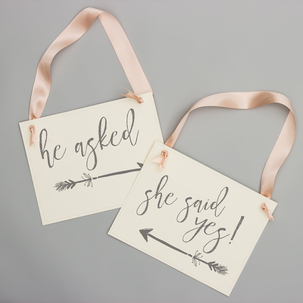 He Asked + She Said Yes Set of 2 Signs
