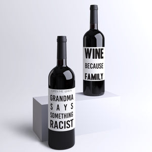 Family Survival Kit | 4 Pack of Wine Bottle Labels