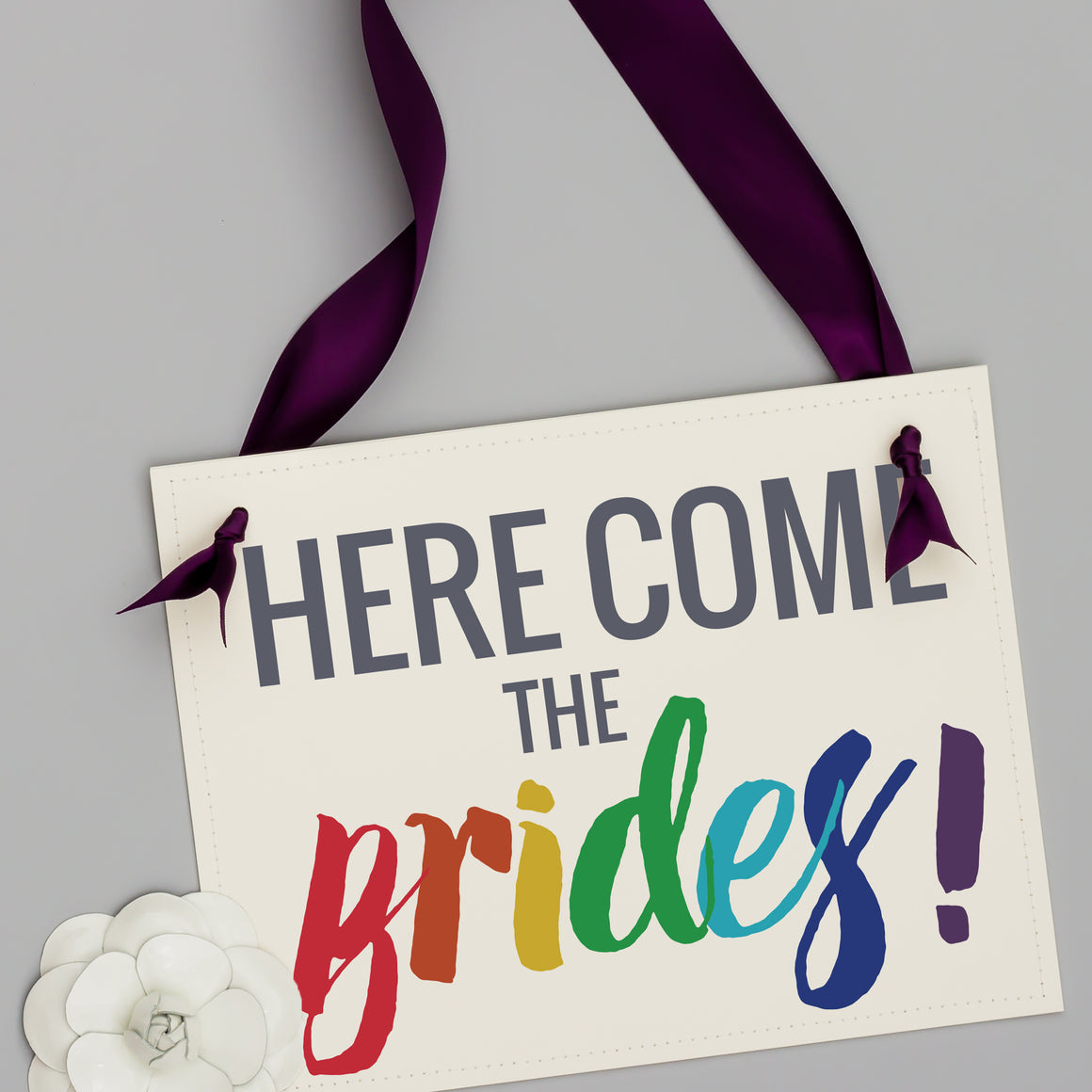 Here Come The Brides Rainbow Lesbian Wedding Sign