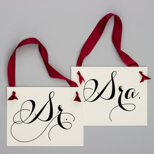 sr. y sra. wedding chair signs