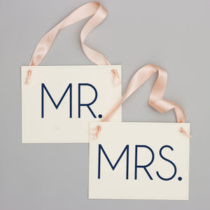 Mr. & Mrs. Wedding Chair Banners | Set of 2