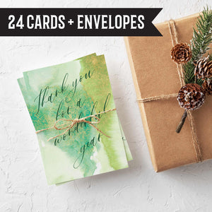 Watercolor Business Office Holiday Cards - 24 Pack