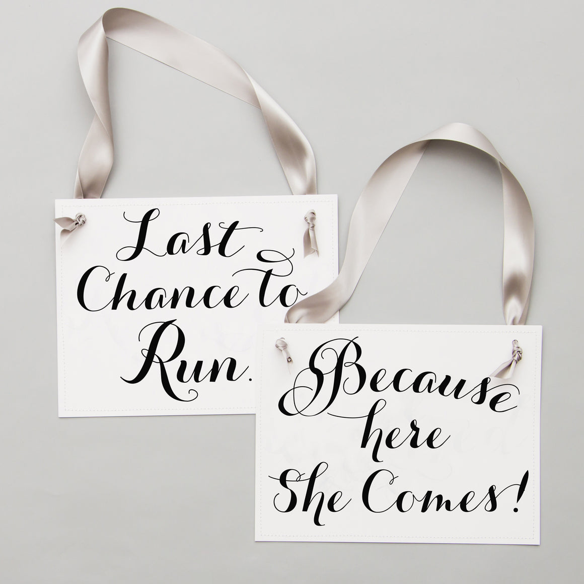 set of 2 flower girl ring bearer wedding signs last chance to run because here she comes