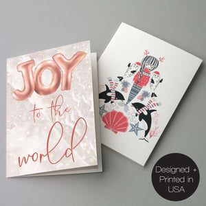 Coral Pink Nautical Christmas Cards - 24 Pack