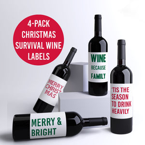 Funny Christmas Survival Wine Labels - 4 Pack