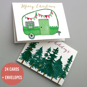 Vintage Camping Christmas Cards - 24 Pack