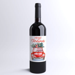 Vintage Truck Merry Christmas Wine Labels - 4 Pack