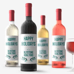 Personalized Happy Holidays Wine Labels - 4 Pack