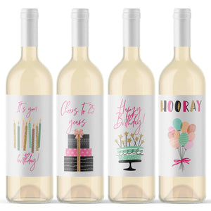 25th Birthday Party Wine Labels - 4 Pack