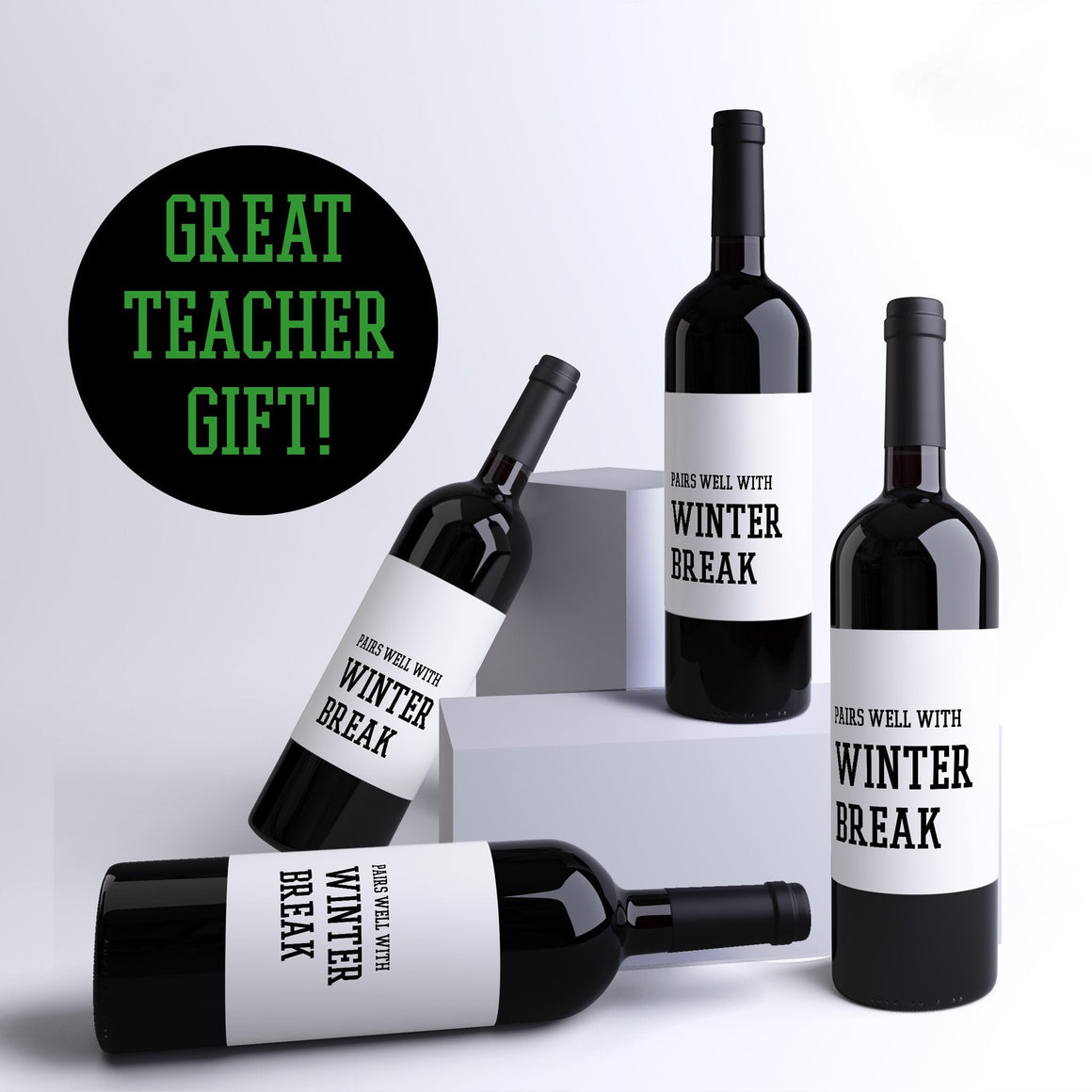 Pairs Well With Winter Break School Teacher Gift Wine Labels - 4 Pack