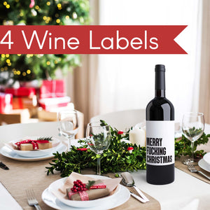 Merry F'n Christmas Wine Labels - 4 Pack