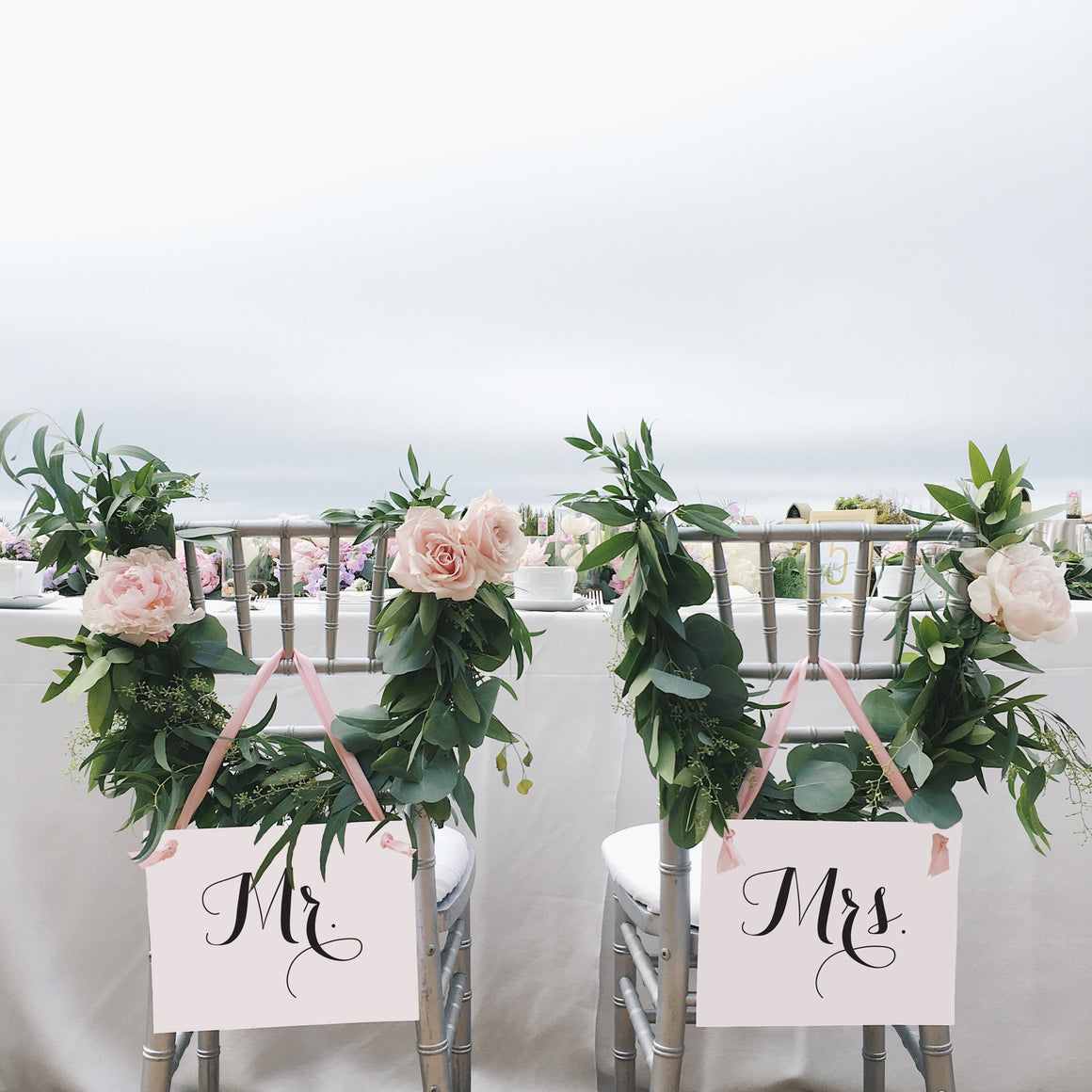 Mr. And Mrs. Bride Groom Chair Signs