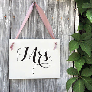 Mr. & Mrs. Chair Signs | Black & Blush Pink